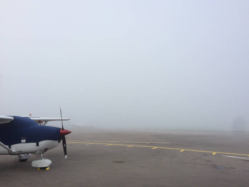 Heavy fog at Bristol airport